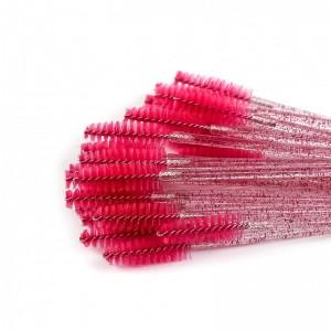 Щёточки нейлоновые с блестками темно- розовые с палочкой