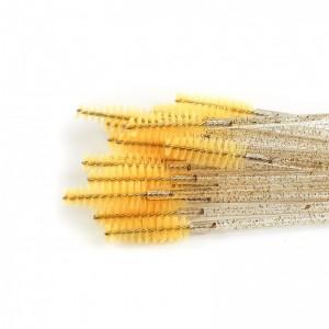 Щёточки нейлоновые с блестками желтые с палочкой