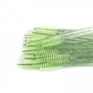Щёточки нейлоновые с блестками зеленые с палочкой