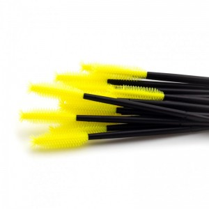 Щёточки для ресниц силиконовые жёлтые с черной палочкой